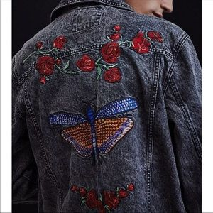 Urban outfitters denim embroidered jacket
